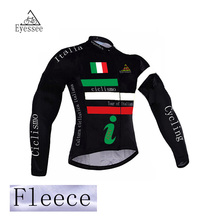 2017 Eyessee winter thermal fleece cycling jersey long ropa ciclismo mtb bike clothes cycling tour of Italy bicycle clothing