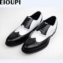 EIOUPI new design top real full grain leather mens formal business shoe men dress breathable Wing-Tip brogue shoes e801-2