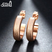 Effie Queen 2017 Fashion Open Stud Earring Women's 316L Stainless Steel Earring for Women 3 Colors Gift Wholesale Jewelry IE20