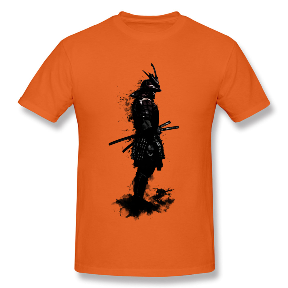 Armored Samurai Simple Style Tees Short Sleeve for Men 100% Cotton Fabric ostern Day O Neck Top T-shirts Design T Shirt Hip Hop Armored Samurai orange