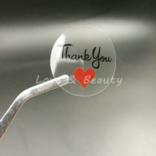 "100pcs 30*30mm 1.18"" Round Transparent Thank you Sealing Sticker Red Heart"