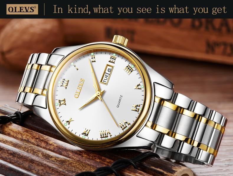 HTB1V3nmbvMTUeJjSZFKq6ygopXaS - OLEVS Luxury Men Gold Watches High Quality Watch Men's Quartz Date Clock Male Week Display Wristwatch Steel relogio masculino