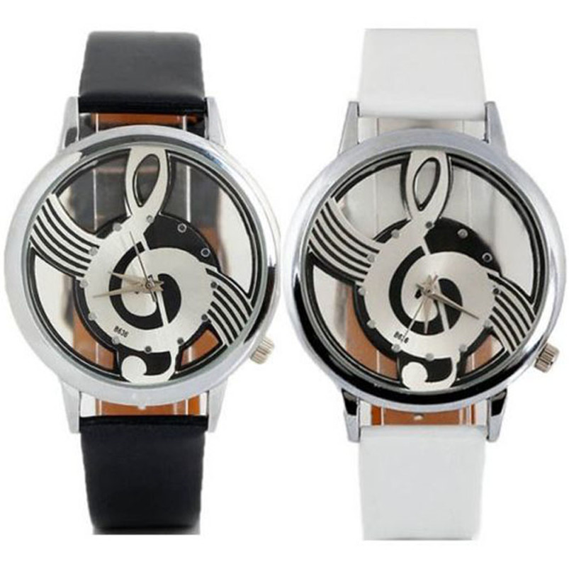 Hot Selling Good Deal Women's Men's Musical Note Notation Hollow Faux Leather Strap Quartz Wrist Watch #2AP18B (5)