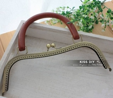 "26cm/10.2"" High Quality Antique Brass Wooden Handle Handbag Frame Engraved Bag Frame Bag Sewing Craft Tailor Sewer,Freeshipping"