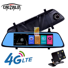 chezhilin Z8 4G Car DVR 7 Touch Remote Monitor Rear view mirror with DVR and camera Android Dual lens 1080P WIFI dashcam(China)