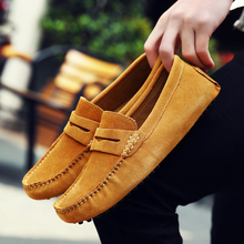 Buy Men Casual Suede Leather Loafers Black Solid Leather Driving Moccasins Gommino Slip Men Loafers Shoes Male Loafers Big Size for $23.44 in AliExpress store