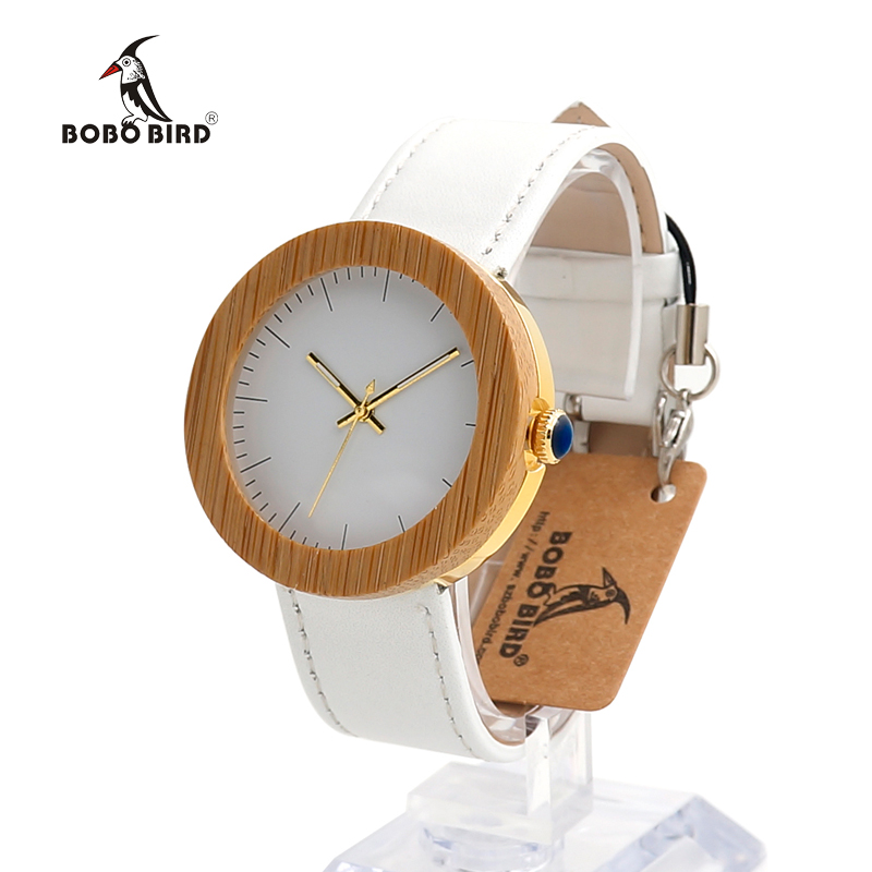 BOBO BIRD J27 Brand Women Watch Bamboo &amp; Steel Quartz Watch Genuine Leather Band With Wooden Gift Box relojes mujer Accept OEM<br>