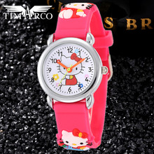 Cute Cartoon Baby Clocks Pupil Watches Hello kitty Mouse Dress Saats Silicone 3D Band Enfant Rejores Superman Boy Nylon Ceasuir