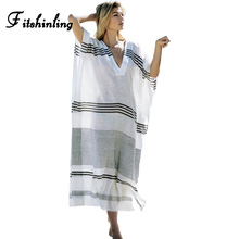 Buy Fitshinling Big size striped beach long dress 2018 V neck cloak sleeve maxi dresses women summer pareos swimwear output oversize for $13.99 in AliExpress store