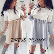2017 Autumn New Style Women Loose Patchwork Long Sleeve Ruffles Shift dress Plus Size Fall Causal O-neck Crochet Mini dresses