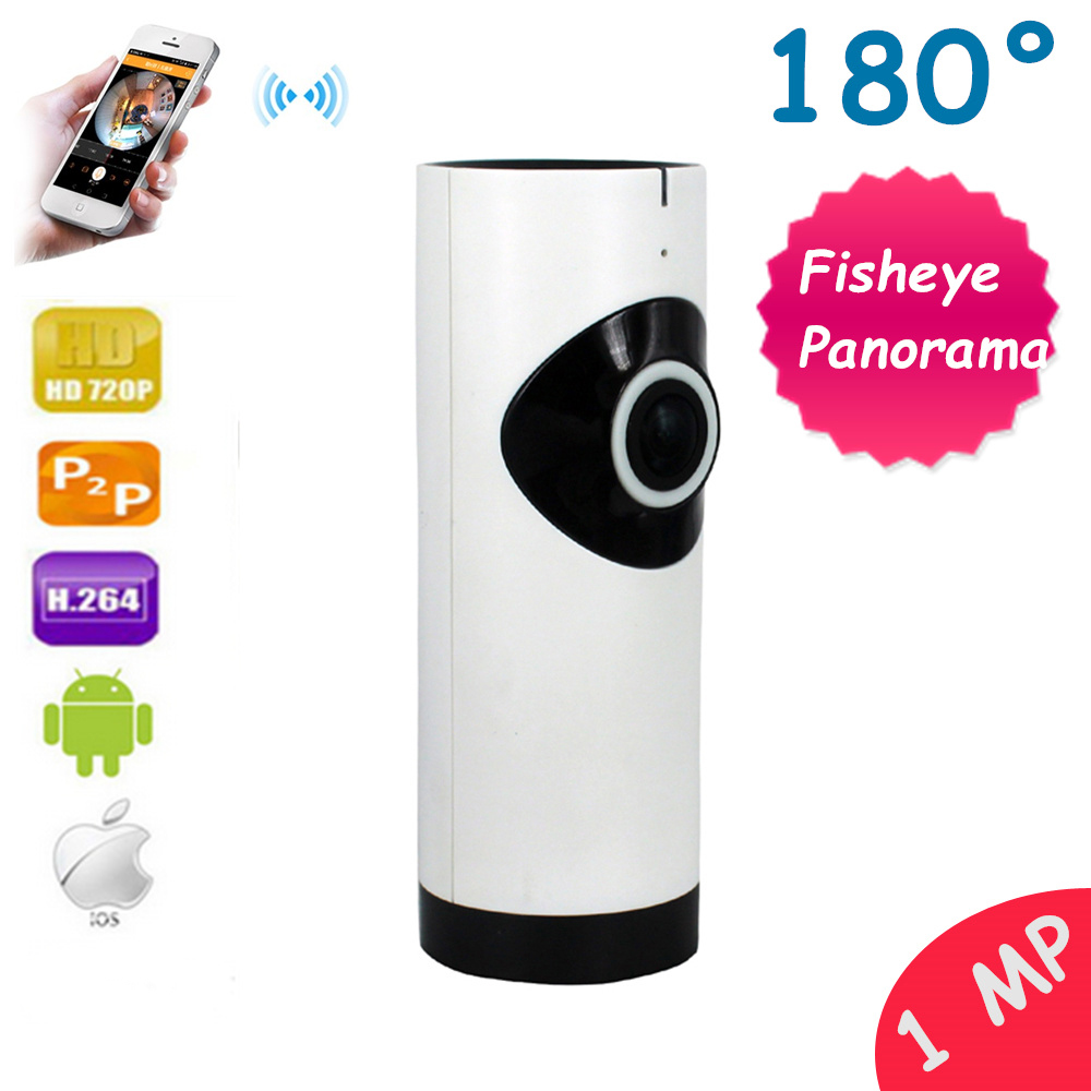 720p Fisheye 180 Degree 1mp IP Camera WiFi Panoramic Wireless Wi-Fi Camera TF Card CCTV Security Surveillance Home Camara <br>