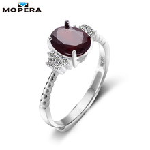 Vintage Jewelry 1.5ct 100% Natural Garnet 925 Sterling Silver Ring Cut Purple Stone Women Wedding Anel Aneis Gemstone Rings(China)