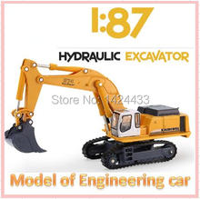 KDW 1:87 Hydraulic Excavator Engineering Car Truck Alloy Metal Mini Model Pull Back Automobiles Machine Model Kids boy Toys Gift