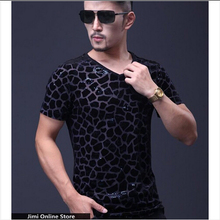 t shirt m - 5xl Plus size men's summer ice silk short sleeve v-neck 3d t-shirt mens t shirts leopard design tee tops(China)