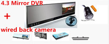 4.3inch Dual Lens mirror DVR camera rearview back up reverse parking system HD 720P CAR DVR +G-SENSOR super thin +2AVIN(China)