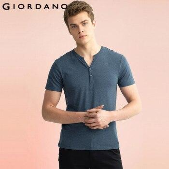 Giordano homens henley t-shirt tee crewneck algodão sólida marca mujer clothing homem ocasional camisetas de manga curta branco
