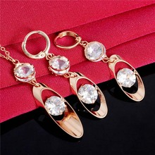 Atreus Jewelry Sets For Women Gold Color Unique Clear Crystal Charming Costome Pendant Necklace Drop Earrings sets