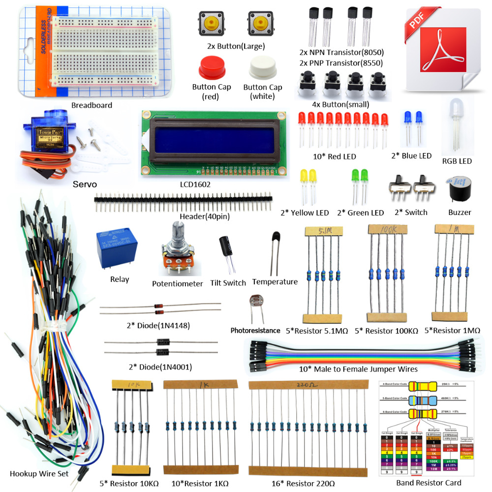 Adeept DIY Electric New Project LCD1602 Starter Kit For Arduino UNO R3 Mega 2560 PDF Free shipping Book headphones diy diykit<br>
