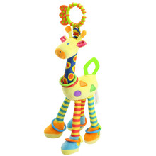 Cute Soft Plush Toy Infant Baby Soft Giraffe Animal Handbells Rattles Handle Toys WIth Teether Baby Toys 1pc 18in(China)