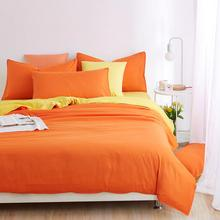 Home Textiles,Orange Yellow Solid Color Bedding Sets 3/4Pcs King Queen Full Twin Size Duvet Cover Bed sheet Pillowcase