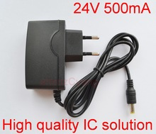 1PCS 24V500mA New AC 100V-240V Converter Adapter DC 24V 0.5A 500mA Power Supply EU Plug DC 5.5mm x 2.1mm -2.5mm(China)