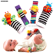 Free shipping lowest price(4pcs/lot=2 pcs waist+2 pcs socks) 2016 New Hot Toy baby rattle toy Garden Bug Wrist Rattle Foot Socks