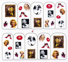 Water Transfer Nail Art Stickers Decal Marilyn Monroe Beauty Photos Design French Manicure Foils Stamping Tools