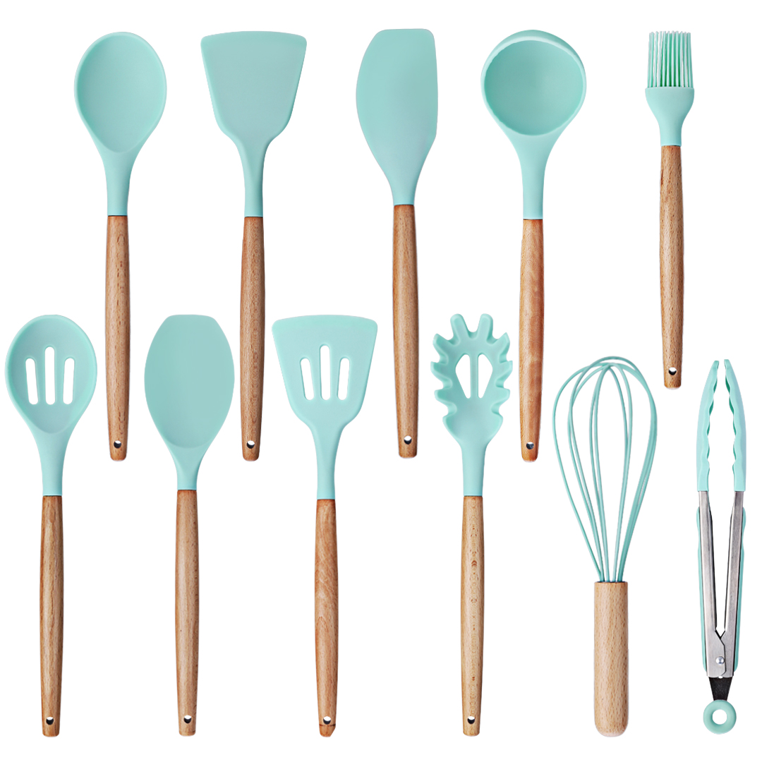 11pcs Silicone Kitchen Utensils Set Nonstick Cooking Baking Tools with Bamboo Wood Handles Cookware Kitchenware for Pots Pans