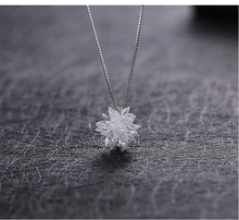 Stereo Snowflakes White Ice Snow Snowball Crystal From Swarovski Locks Chain 925 Sterling Silver Necklace Valentine Gift(China)