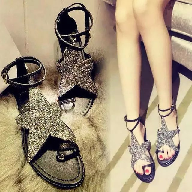 2017 summer women genuine leather shoes flats toe-covering gladiator rhinestone sandals female sandals lady shoes<br><br>Aliexpress