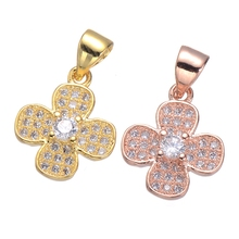 Luxury Nice Flower Charm Pendants For Necklace DIY Jewellery Making Women Accessories Inlaid Zirconia Rhinestone Pendant