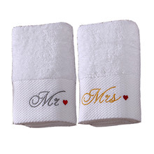 Signature 100% Cotton Hand or Face Towels with Mr./Mrs. Embroidery Set of 2 Engagement Wedding Anniversary Romantic Couples Gift