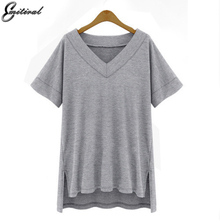 2017 Summer Plus Size 4XL 5XL Women Cotton Loose Tees Solid Casual V neck Tops Black Whie Grey T-shirt Female Clothing T Shirts