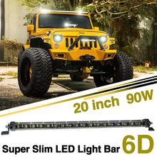 CO LIGHT 20 Inch Led Bar Single 6D Led Chip 90W Combo Slim Light Bar 12v 24v for Lada Niva Uaz Off Road 4X4(China)