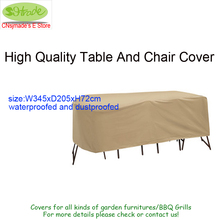 Large Waterproofed Table And High Back Chair Cover, Used indoors and outdoors, beige fabric 345X205X72cm