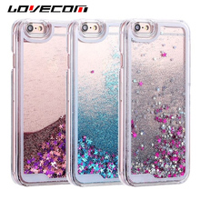 LOVECOM For iPhone 6 6S 7 8 Plus 4S 5 5S SE 5C Phone Cases Glitter Stars Dynamic Liquid Quicksand PC Hard Back Cover Capa Shell