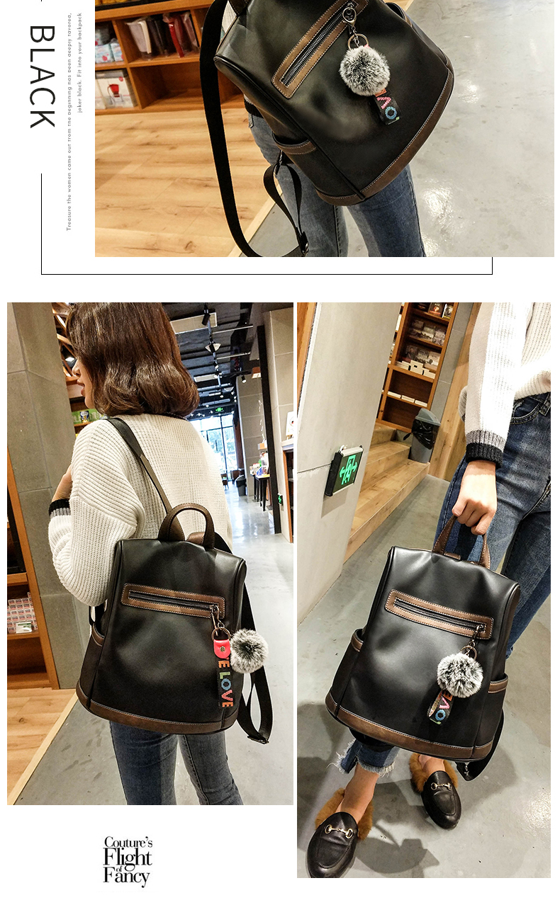 2018 New High-end Fashion Backpack Trend Simple Personality Fashion Campus Bag Large Capacity Bag Soft Leather Travel Backpack 41 Online shopping Bangladesh