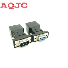 New RS232 Female to RJ45 Female  9pin  Connector Card COM Port to LAN Ethernet Port adapter Black male to female AQJG