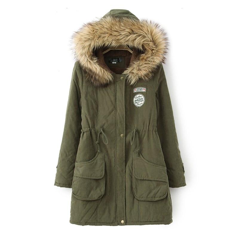 Winter fur collar cotton-padded jacket long-sleeve plus velvet cotton-padded jacket medium-long slim drawstring waist with aÎäåæäà è àêñåññóàðû<br><br>