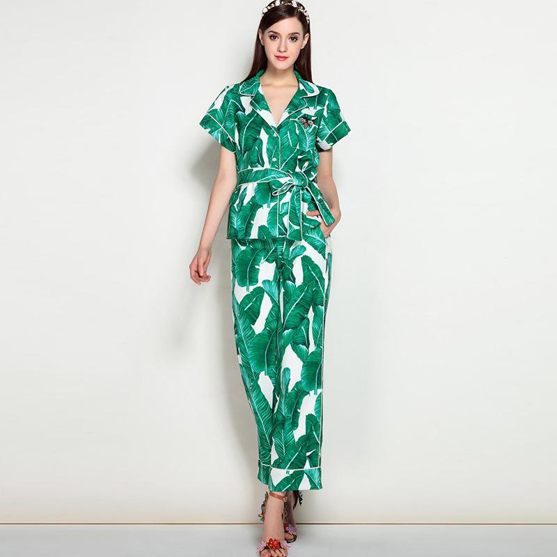 Brand Fashion Two Piece Set Women Runway Suit Fashion Green Leaf Print Dragonfly Beading Shirt + Elastic Waist Pants Sets 2