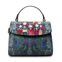 Clamshell Cartoon Square Printing Dark Green Forest Women Leather Messenger Shoulder Bag Retro Tote Bag Woman Handbags