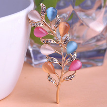 Luxury Large Leaf Flower Rhinestone Brooch Bouquet Coroa Women Blouse Scarf Clips Cheap Bulk Brand Hat Pin Strass 50% Off Coupon(China)