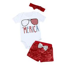 Fashion Clothing Kid Cute Suits Newborn Baby Girl 4th Of July Patriotic Romper Shorts Pants Clothes Outfits Set Newly JY11