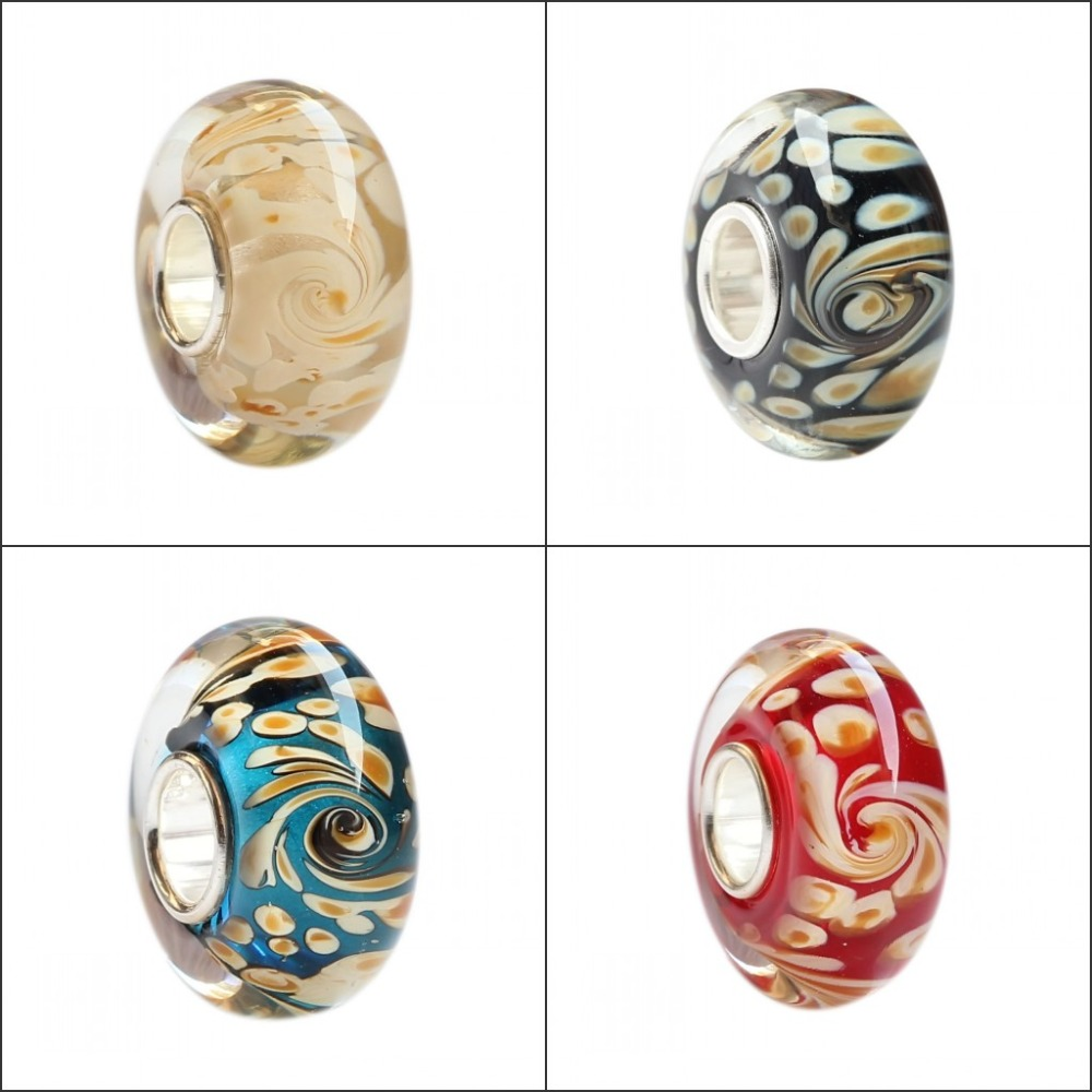 925 Sterling Silver Large Hole Colorful 3D Flowers Stripe Murano Glass Charm Beads Fit European Brand Bracelet Jewelry