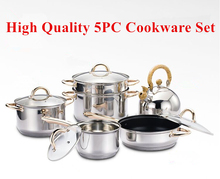 Top Quality Utensilios De Cocina 10pc Of 18/10 Stainless Steel Cookware Set Casserole+Saucepan+Steamer+Fliying Pan+Kettle
