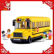 Big City Yellow School Bus Model Building Block Toys Compatible Legoe SLUBAN 0506 392Pcs Educational Figure Gift For Children(China)