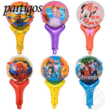 10pcs/lot mickey minnie mouse Hand Holding Sticks Balloon Sofia princess spiderman Foil Balloons Birthday Party Supplies Toys(China)