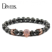 Buy DUYEBS Zircon Skull Crown Men Charm Bracelet&Bangle 8mm Labradorite Spectrolite Natural Stone Beads Rose gold color Jewelry for $4.99 in AliExpress store