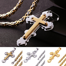 Men Women Fadeless Jesus Crosses Pendant Titanium Steel Long Chain Necklace(China)