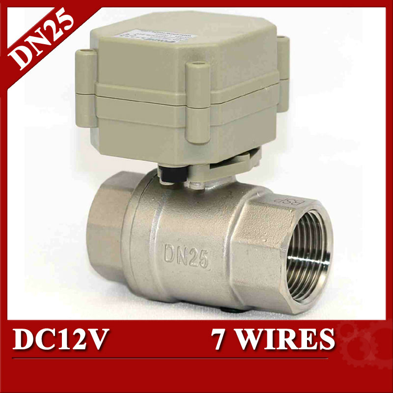 1 DC12V 7 wires(CR702) Electric water valve with SS304 valve body, DN25 Electric automatic control valve for water tank<br>